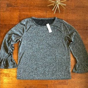 J.Crew Sparkle Bell Sleeve Top